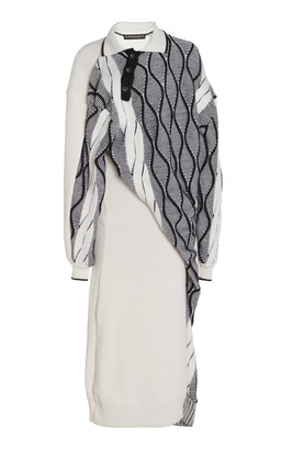 Y/Project Twisted Wool-Blend Argyle Midi Sweater Dress