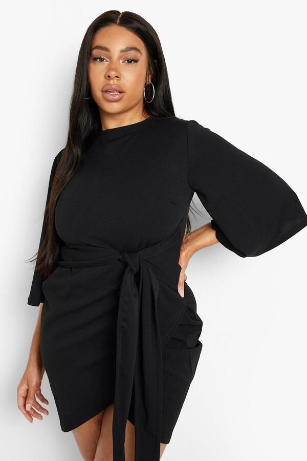 boohoo Plus Kimono Sleeve Tie Waist Wrap Dress