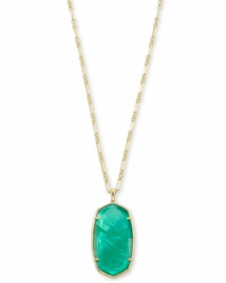 Kendra Scott Faceted Reid Gold Long Pendant Necklace in Jade Green Illusion