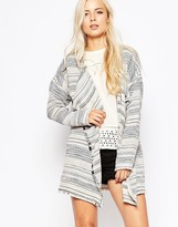 Maison Scotch Woven Boucle Poncho with Fringes