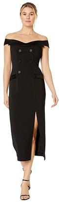 Adrianna Papell Crepe Tuxedo Off-the-Shoulder Dress (Black) Women's Dress