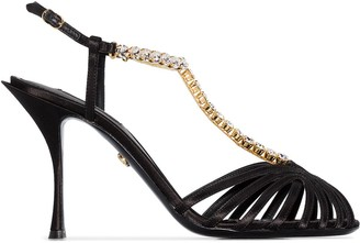 Dolce & Gabbana 90mm chain-trimmed silk-satin T-bar sandals