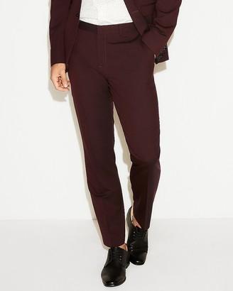 Express Slim Burgundy Wool Blend Oxford Suit Pant