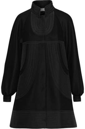 RED Valentino Crepe De Chine-paneled Wool-blend Felt Coat