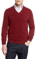 Neiman Marcus Cashmere V-Neck Sweater, Claret