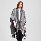 Sylvia Alexander Women's Knit Ruana Wrap with Fringe Black and White