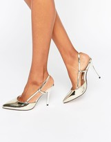 True Decadence Metallic Slingback Point Heeled Shoes