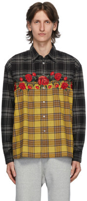 Awake NY Yellow Flannel Embroidered Rose Shirt