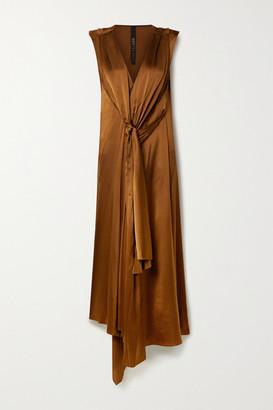 Petar Petrov Aria Draped Silk-blend Satin Dress - Copper