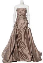 Reem Acra Silk Strapless Gown