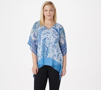 Susan Graver Printed Sheer Chiffon Scarf Top with Knit Tank