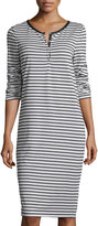 Max Studio Striped Long-Sleeve Dress, Natural/Charcoal