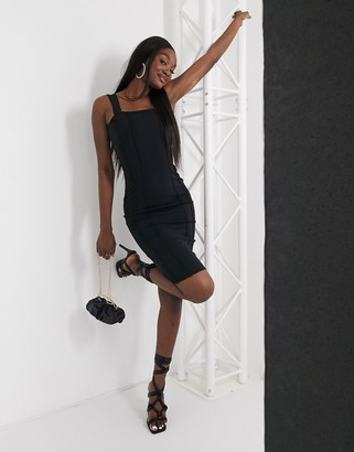 Femme Luxe square neck pencil dress in black