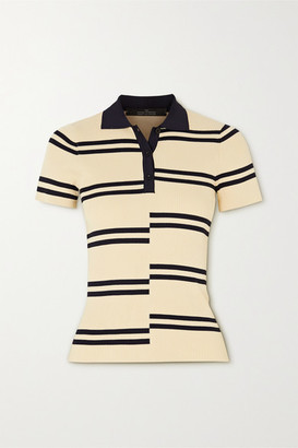 Rokh Paneled Striped Ribbed-knit Polo Shirt - Yellow