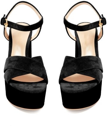 Thumbnail for your product : Gianvito Rossi Crossover-front 70 Platform Suede Sandals - Black