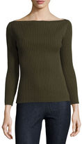 Theory Sandora Ribbed Boat-Neck Sweater