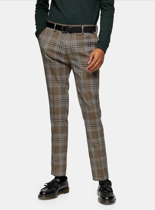 Topman Brown Check Stretch Skinny Trousers