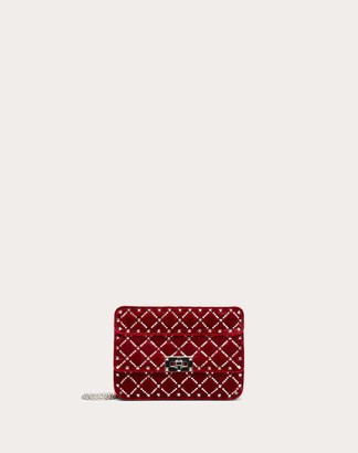 Valentino Small Spike.it Velvet Chain Bag With Rhinestone-embellished Rhombus Quilting Women Red Viscose 78%, Silk 22% OneSize