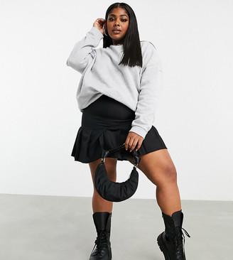 ASOS DESIGN Curve pleated mini skirt in black