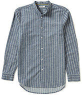 William Rast Long-Sleeve Banded Collar Striped Shirt