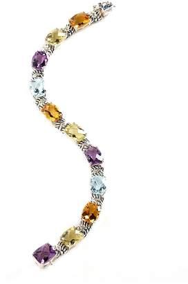 Fine Jewellery Sterling Silver 14K Yellow Gold Diamond And Multi-Coloured Gemstone Bracelet