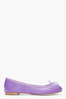 Repetto Purple Leather Cendrillon Ballerina Flats