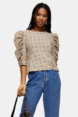 Topshop Womens Brown Check Tie Back Drama Blouse - Brown