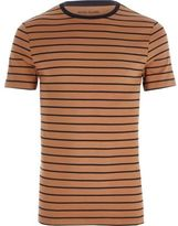 River Island Light Brown Stripe Print Muscle Fit T-shirt