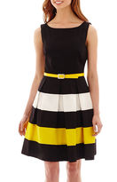 Tiana B Sleeveless Colorblock Belted Fit-and-Flare Dress