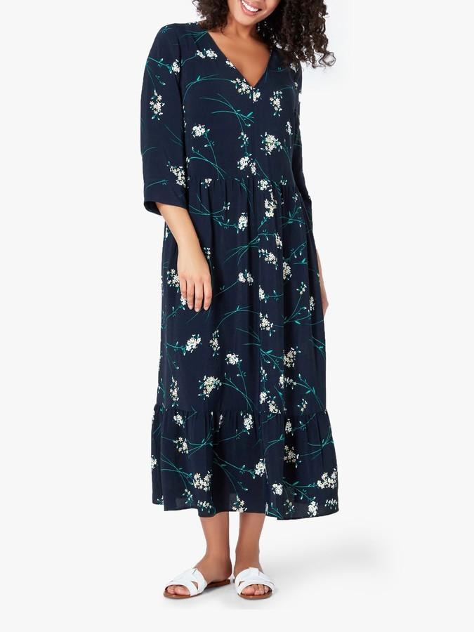 Live Unlimited Curve Floral Midi Dress, Navy