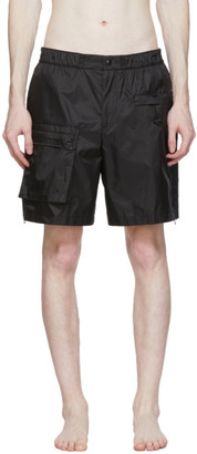Solid Homme Black Ripstop Swim Shorts
