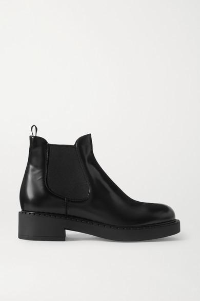 Prada Glossed-leather Chelsea Boots - Black