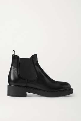 Prada Glossed-leather Chelsea Boots - Black