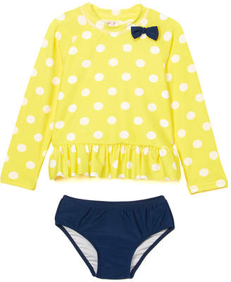 Sol Swim Girls' Bikini Bottoms YELLOW - Yellow Sunny Dots Bow Ruffle Rashguard Set - Infant, Toddler & Girls