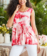 Suzanne Betro Women's Tunics 101RED - Red & White Babydoll Hi-Low Tunic - Women & Plus