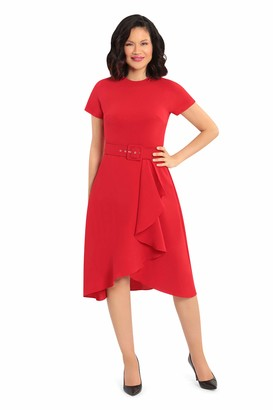 Maggy London Women's Fluid Crepe arc Shoulder Cascade Skirt Belted fit and Flare