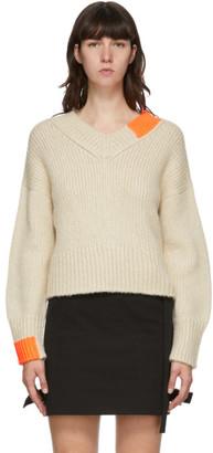 Helmut Lang Off-White Camel V-Neck Sweater