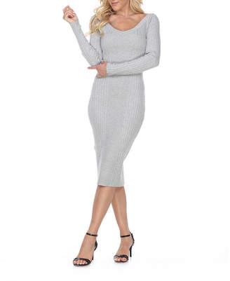 White Mark Long Sleeve Midi Sheath Dress