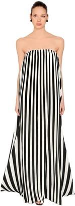 Krizia Strapless Pleated Stripe Chiffon Dress