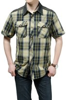Oncefirst Men's Essential Plaid Button Down Short Sleeve Shirt2XL