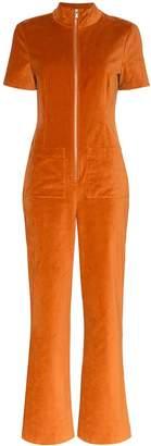 STAUD zip-front velvet jumpsuit