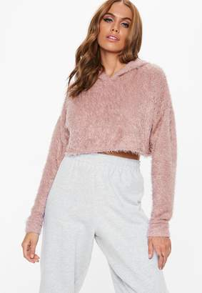 Missguided Petite Pink Fluffy Hooded Cropped Jumper