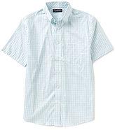 Roundtree & Yorke Big & Tall Poplin Checked Short-Sleeve Stretch Button-Down Collar Sportshirt