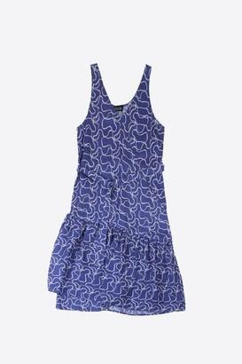 Lowie River Print Asymmetric Ruffle Dress - L