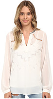 Hale Bob Oasis In The City Long Sleeve Blouse w/ Cut Outs