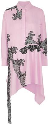 Marques Almeida Pink Lace-appliqued Cotton Shirt Dress