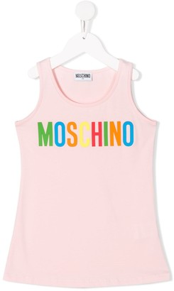MOSCHINO BAMBINO TEEN logo printed tank top