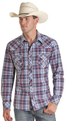 Rock and Roll Cowboy Long Sleeve Yarn-Dye Plaid Snap Shirt B2S5082 (Blue) Men's Clothing
