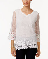 Alfred Dunner Petite Cotton Crochet Tunic