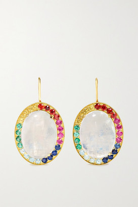 Andrea Fohrman Kat 18-karat Gold, Moonstone And Sapphire Earrings - one size